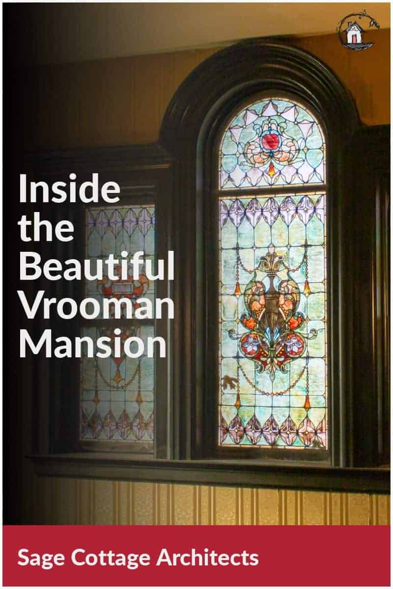 Photo collage of stained glass window in the Vrooman Mansion.
