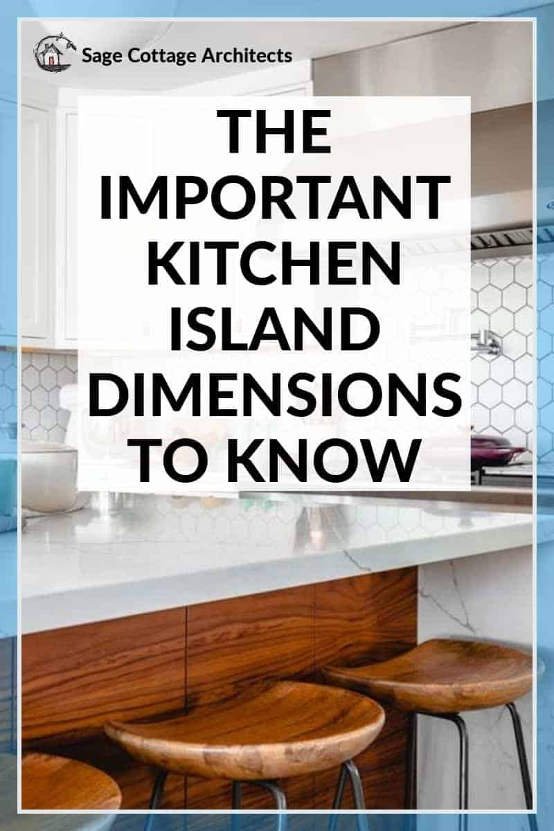 Photo collage of a white kitchen and the kitchen island dimensions you'll need to know to plan a new kitchen.