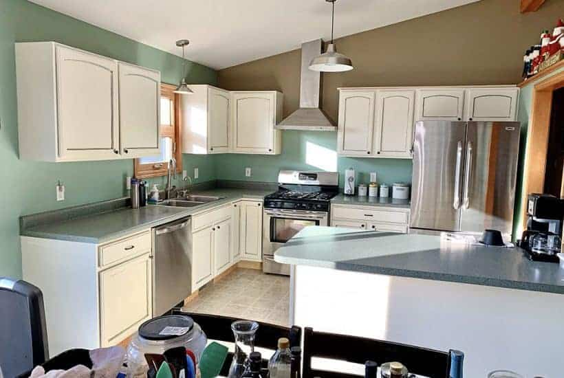 kitchen with painted white cabinets