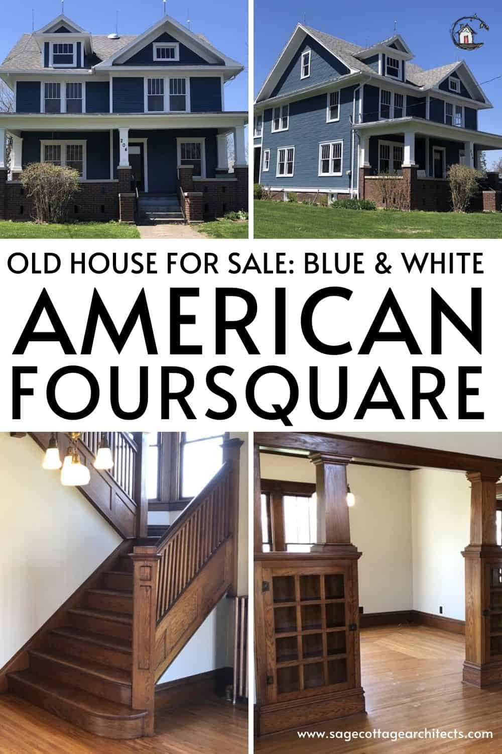 Photo collage of an American Foursquare style home.