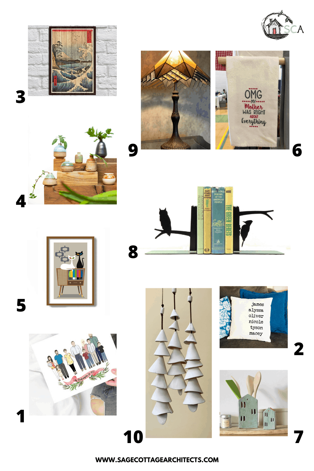 collage of home decor gifts for a Mother's Day gift guide