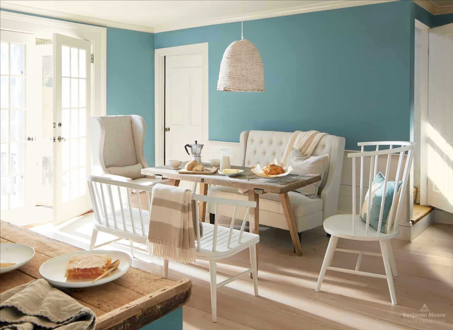 blue wall with 2021 color of the year aegean teal