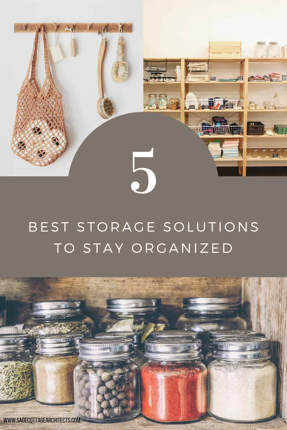 collage graphic with 3 different examples of home storage solutions